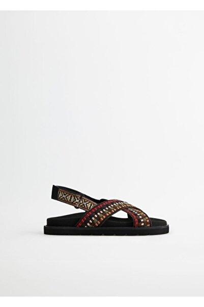 Violeta by MANGO Kadın Siyah Çapraz Bantlı Sandalet 77050170