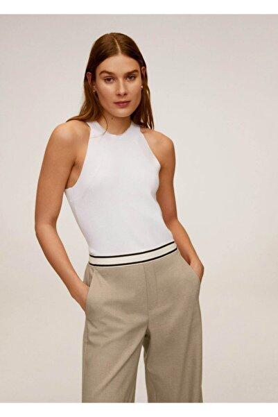 MANGO Woman Kadın Orta Kahverengi Beli Bağcıklı Düz Kesim Pantolon 67005131