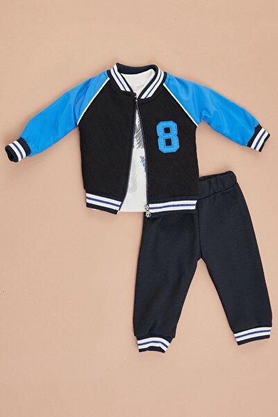 Fulla Moda Erkek Bebek Saks Mavi Ceketli 3'lü Takım