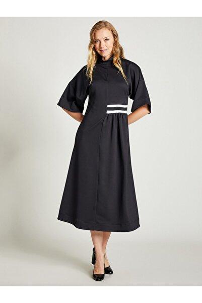 VKM Kadın Siyah Dik Yaka Rahat Kesim Elbise