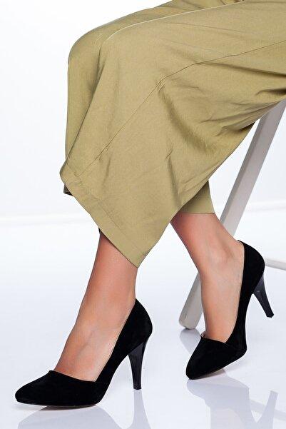 VİVA Kadın Siyah Süet Topuklu Ayakkabı