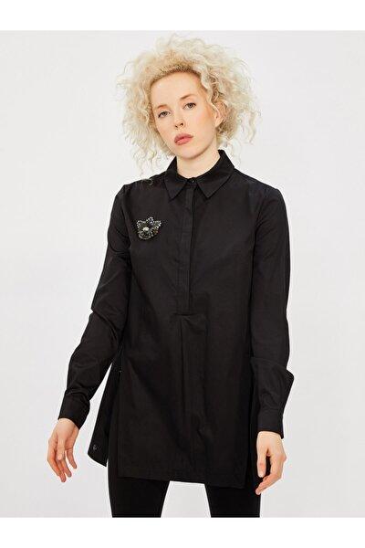 Vekem Kadın Siyah Klasik Kesim Broşlu %100 Pamuk Gömlek