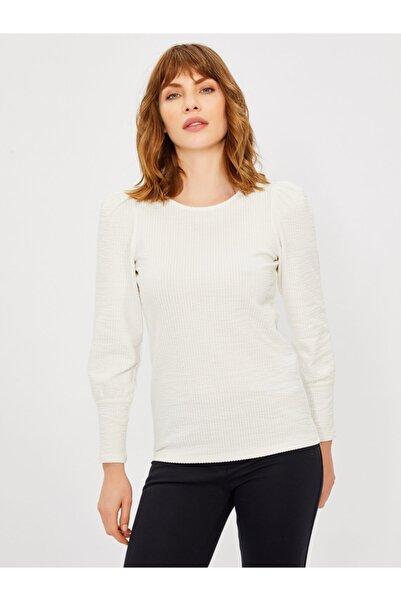 Vekem Kadın Beyaz Yuvarlak Yaka Pamuklu Bluz