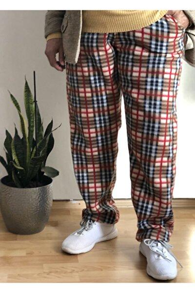 sinans moda Kadın Kahverengi Polar Desenli Pijama Altı