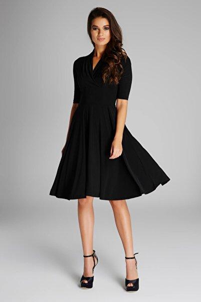 Laranor Kadın Siyah Yaka Detaylı Elbise