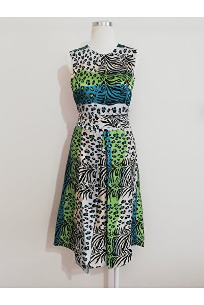 Vekem Kadın Leopar Desenli Midi Elbise