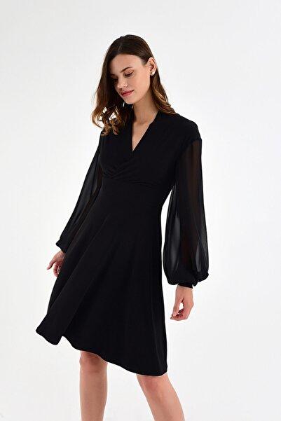 Laranor Kadın Simli Siyah Kolda Şifon Detaylı Haraketli Etek Detaylı Elbise