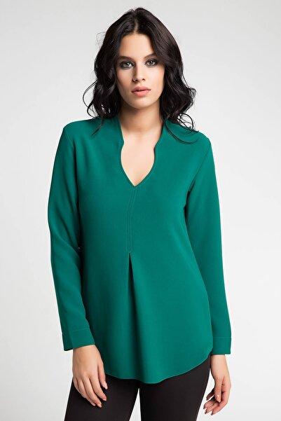 Laranor Kadın Yeşil Yaka Detaylı Bluz