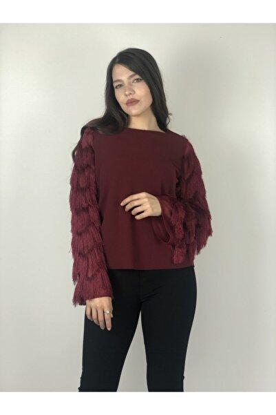 AYHAN Kadın Bordo Kolları Püsküllü  Bluz