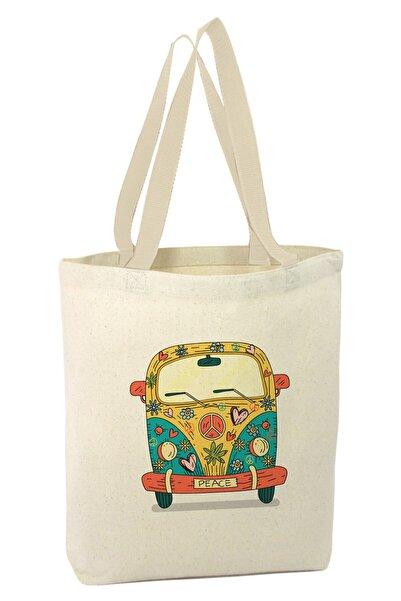 Angemiel Tatlı Desenli Minibüs Barış Alışveriş Plaj Bez Çanta