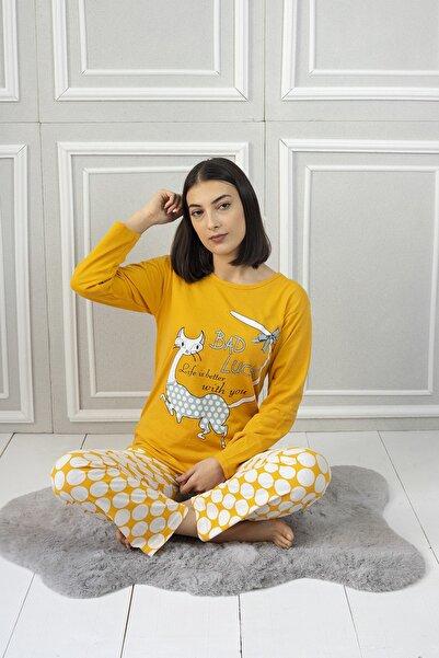 Bellis Kadın Sarı Kedi Desenli Pijama Takımı 5560
