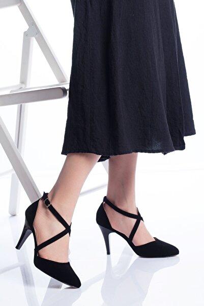 VİVA Kadın  Siyah Süet Gabel Topuklu Ayakkabı