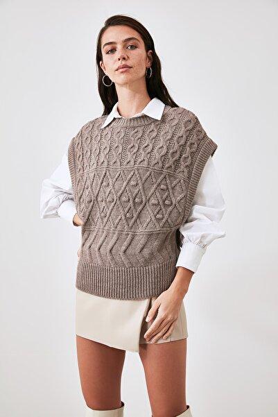 TRENDYOLMİLLA Vizon Örgü Detaylı Triko Bluz TWOAW21BZ0447