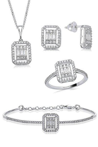 Valori Jewels 1.50 Karat Zirkon Baget Taşlı, Gümüş Dörtlü Set