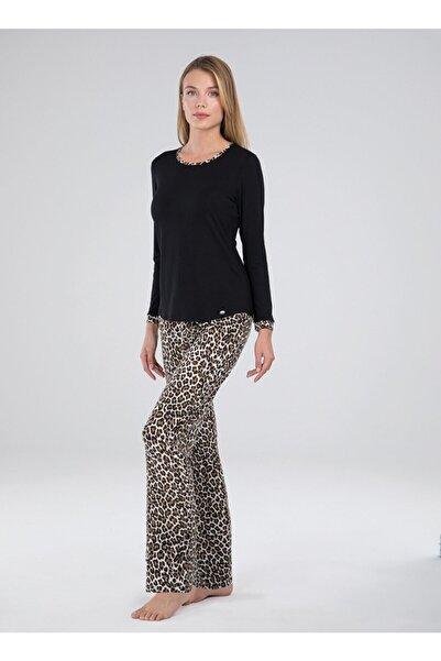 Blackspade Kadın Siyah Leopar Desen Modal Pijama Takımı