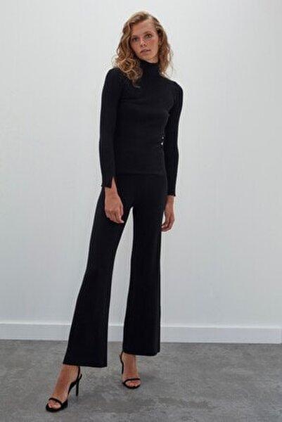 Kadın Siyah Dikişsiz Ribana Beli Lastikli Triko Pantolon