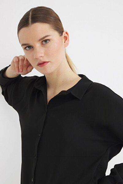 Love My Body Kadın Siyah Erkek Yaka Gömlek