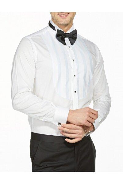 Bisse Erkek Beyaz Uzun Kollu Ata Yaka Klasik Gömlek