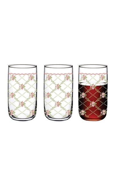 English Home Rosalinda 1 Cam 3'lü Meşrubat Bardağı 365 Ml Pembe - Yeşil