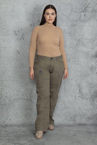 Şans Kadın Haki Diz Detaylı Paça Bağcıklı Cepli Kargo Pantolon 65N20544