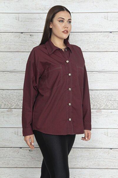 Şans Kadın Bordo Metal Düğmeli Kontrast Dikişli Gömlek 65N20521