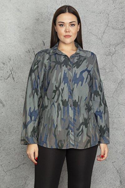 Şans Kadın Renkli Desenli Gömlek 65N20635