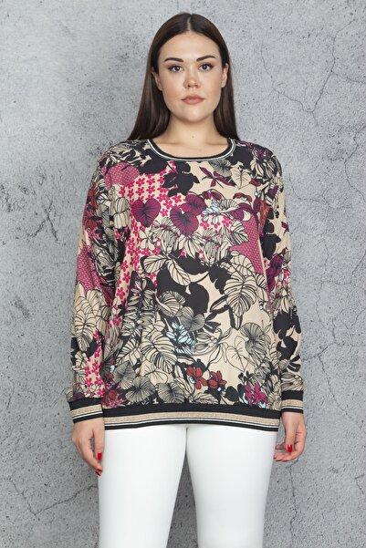 Şans Kadın Renkli Sim Ribana Detaylı Şifon Bluz 65N20613