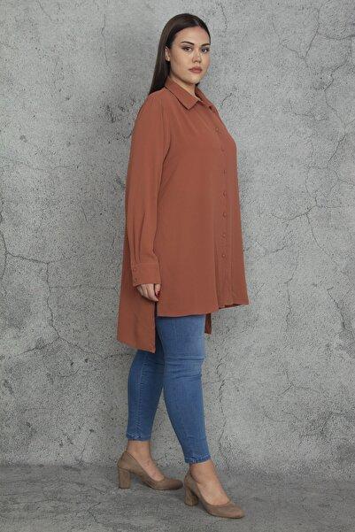 Şans Kadın Tarçın Ön Düğmeli Arkası Uzun Klasik Gömlek 65N20275