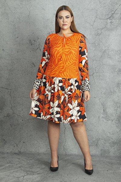 Şans Kadın Turuncu Eteği Ve Kolu Desenli Yaka Bağcıklı Ç,Çek Desenli Elbise 65N20151
