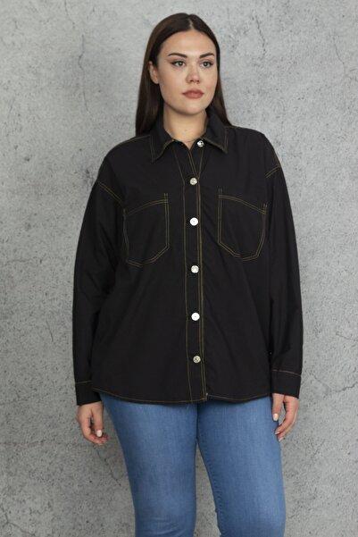Şans Kadın Siyah Tensel Kumaş Kontrast Dikiş Detaylı Gömlek 65N20498