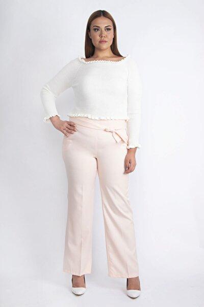 Şans Kadın Pembe Beli Süs Bağlamalı Pantolon 65N20252