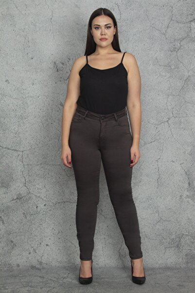 Şans Kadın Kahve Slimfit 5 Cepli Pantolon 65N20352