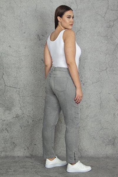 Şans Kadın Gri Paça Düğmeli 5 Cepli Gabardin Kumaş Pantolon 65N20215