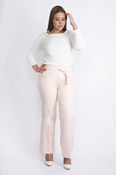 Şans Kadın Pembe Beli Süs Bağlamalı Pantolon 65N20260