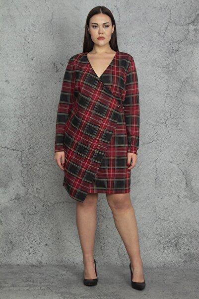 Şans Kadın Kırmızı Ekose Desenli Bel Detaylı Anvelop Astarlı Elbise 65N20321