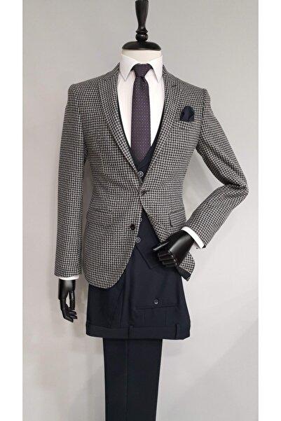 COMİENZO Erkek Bej Slim Fit Sivri Yaka Tek Yırtmaç Kombinli Takım Elbise