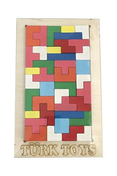 Celicido Ahşap Yap Boz Puzzle Çocuk Oyuncağı Tetris Modeli Renkli Puzzle Yap Boz Eğitici Çocuk Oyunu