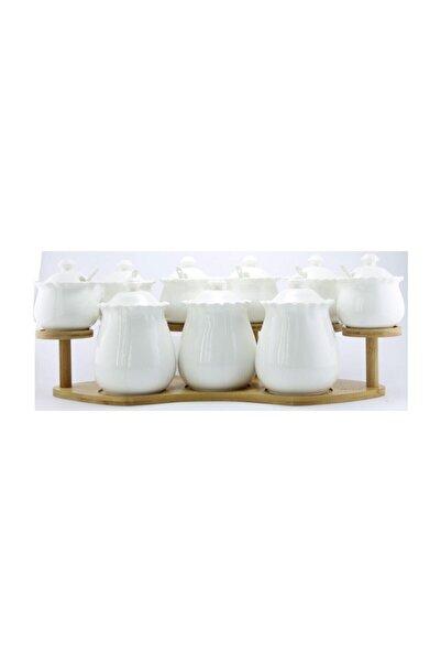 AROW Aliste Porselen Bambu Standlı 9 Parça Baharat Takımı
