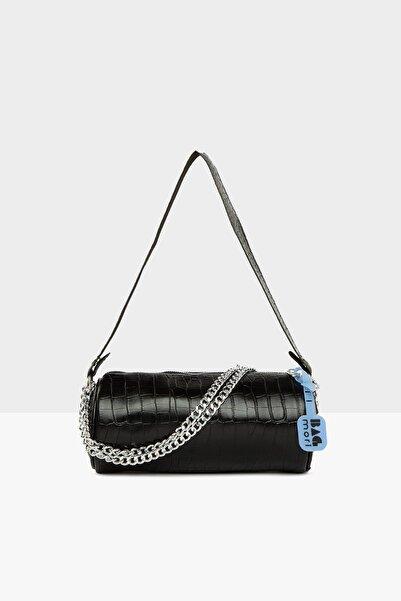 Bagmori Kadın Kroko Siyah Fitilli Silindir Mini Çanta M000005292