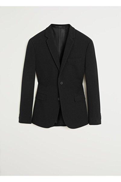 MANGO Man Erkek Siyah Süper Dar Kesimli Pamuklu Blazer Ceket 67072881