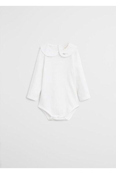MANGO Baby İşlemeli fırfırlı organik pamuklu çıtçıtlı badi