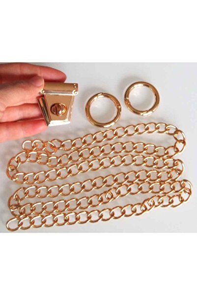 angel çanta aksesuar Light Gold Renk Zincir Set