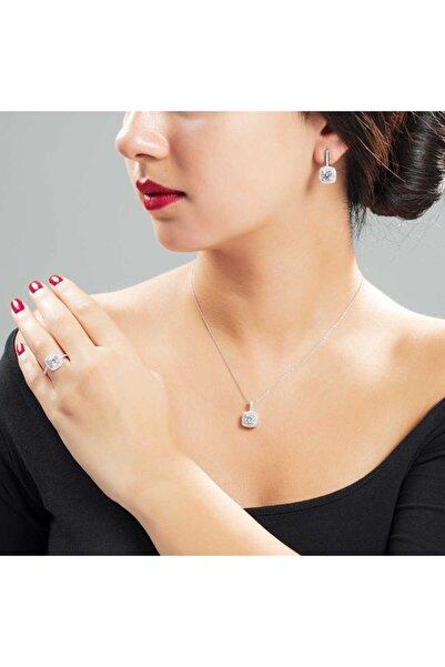 Tesbihane Starlight Diamond Pırlanta Montür Kare Baget Taşlı 925 Ayar Gümüş 3lü Takı Seti