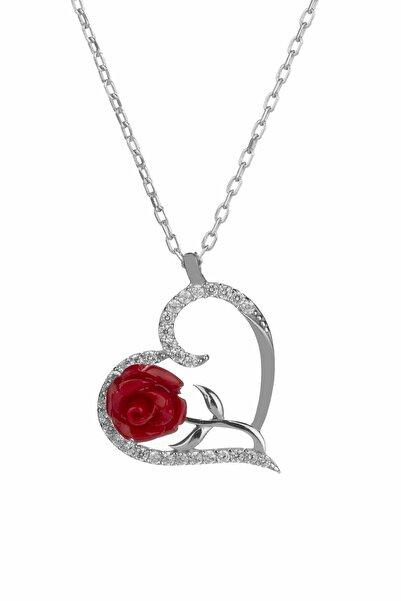 Anı Yüzük Kadın Zarif Kırmızı Gül Motifli Kalpli Gümüş Aşk Kolyesi