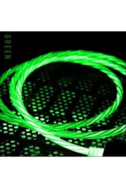 Iphone Lighting Full Işıklı Hareketli Hızlı Şarj Kablo 60w 3.0a Yüksek Kalite Renk:yeşil