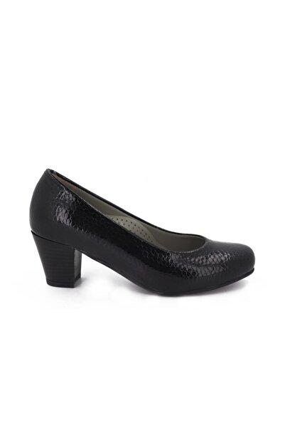 Hobby Kadın Siyah Rugan Topuklu Kadın Ayakkabı 5116