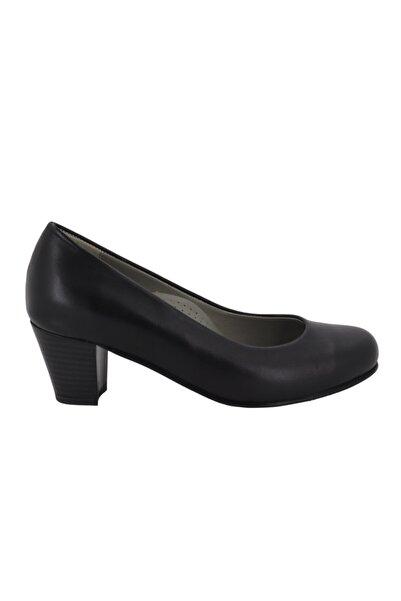Hobby Kadın Siyah Deri Topuklu Kadın Ayakkabı 5116