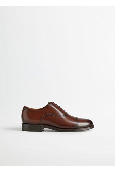 MANGO Man Erkek Orta Kahverengi Dikişli Deri Oxford Ayakkabı 77000000