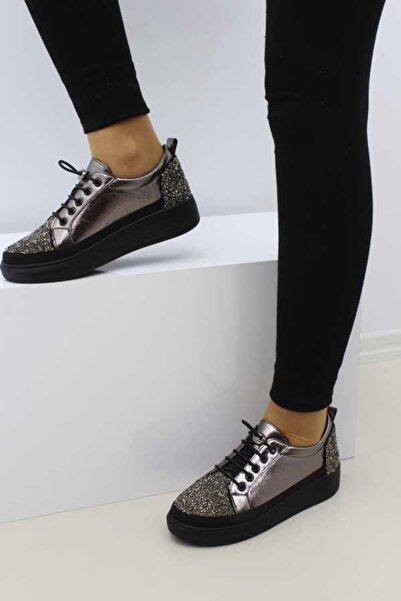 Cudo Kadın Platin Renk Taşlı Casual Ayakkabı