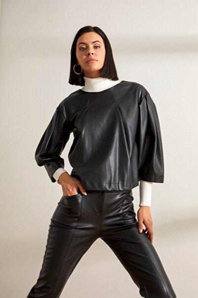 Setre Kadın Siyah Bisiklet Yaka Balon Kol Deri Bluz